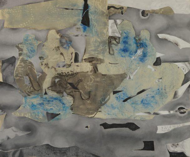 до свидания мальчики, 2016, pigment, resin and acrylic on canvas, 145x177 cm