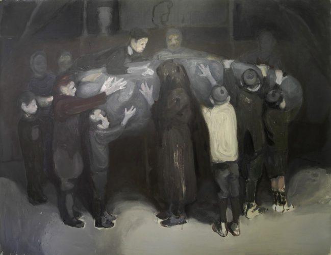 Glorificazione della pietra, 2011, acrylic and oil on canvas, 199x252 cm
