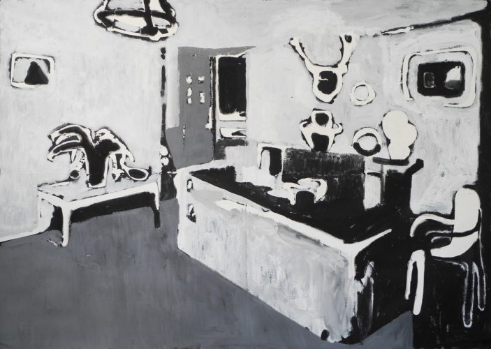 White interior, 2013, acrylic and deccolage on paper mounted on canvas, 140x200 cm